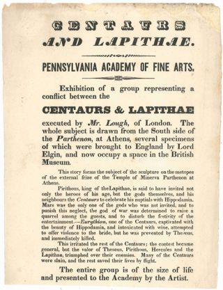 CENTAURS AND LAPITHAE. PENNSYLVANIA ACADEMY OF FINE ARTS. EXHIBITION OF A GROUP REPRESENTING A...