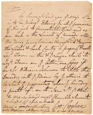 AUTOGRAPH LETTER, SIGNED, FROM GEORGE CROGHAN, CONCERNING A MAP OF THE AMERICAN COLONIES]. George...