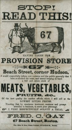 STOP! READ THIS! HAVING TAKEN THE PROVISION STORE 67 BEACH STREET, CORNER HUDSON, I WOULD...