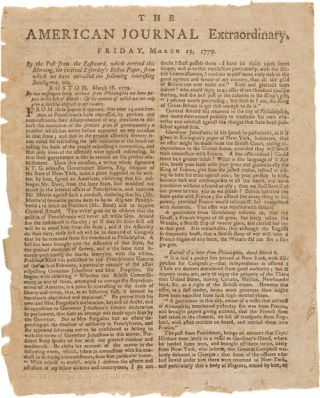 AMERICAN JOURNAL EXTRAORDINARY. FRIDAY, MARCH 19, 1779 [caption title]. American Revolution