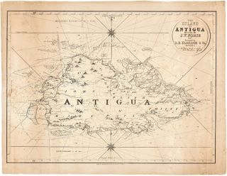 THE ISLAND OF ANTIGUA. Revised by J.W. Norie, 1827. Caribbean Maps, J. W. Norie