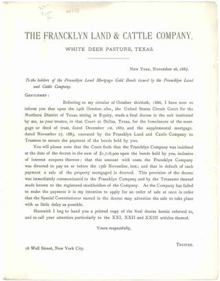 TO THE HOLDERS OF THE FRANCKLYN LAND MORTGAGE GOLD BONDS ISSUED BY THE FRANCKLYN LAND AND CATTLE...