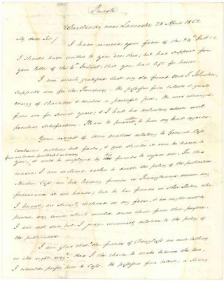 AUTOGRAPH LETTER, SIGNED, FROM JAMES BUCHANAN TO MAYOR DAVID LYNCH, WITH CANDID OPINIONS FROM...