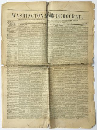 WASHINGTON DEMOCRAT. Vol. I, No. 22 [& 24]. Abraham Lincoln, Washington State