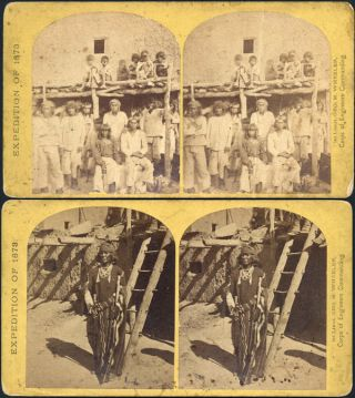 TWO STEREOSCOPIC VIEWS OF ZUNI INDIANS, TAKEN ON THE 1871-74 EXPEDITIONS OF THE WHEELER SURVEY]....
