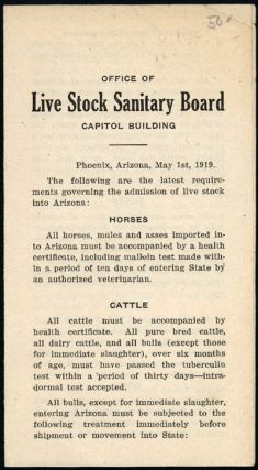 OFFICE OF LIVE STOCK SANITARY BOARD CAPITOL BUILDING. PHOENIX, ARIZONA, MAY 1st, 1919. THE...