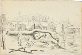 ORIGINAL SIGNED PENCIL SKETCH, FROM LIFE, OF A SCENE IN A CALIFORNIA GOLD RUSH TOWN]. John David...