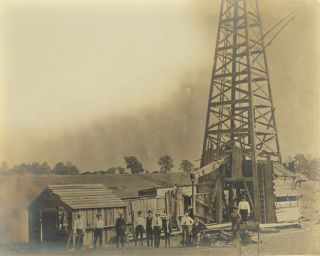 LARGE FORMAT PHOTOGRAPH OF AN EARLY OIL RIG]. Oil Photographica