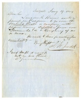 AUTOGRAPH NOTE, SIGNED, BY J.W. JUDD, TO GUY R. PHELPS, REGARDING A LIFE INSURANCE POLICY FOR...