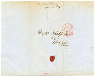 [AUTOGRAPH NOTE, SIGNED, BY J.W. JUDD, TO GUY R. PHELPS, REGARDING A LIFE INSURANCE POLICY FOR LANGDON H. HAVENS, A FORTY-NINER AND MEMBER OF JOHN WOODHOUSE AUDUBON'S ILL- FATED OVERLAND EXPEDITION TO CALIFORNIA IN 1849].