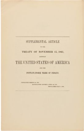 SUPPLEMENTAL ARTICLE TO THE TREATY OF NOVEMBER 15, 1861, BETWEEN THE UNITED STATES OF AMERICA AND...