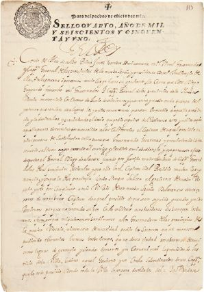 AN EXCEPTIONAL LETTER, SIGNED, BY KING PHILIP IV TO THE VICEROY OF NEW SPAIN, WITH REFERENCE TO...