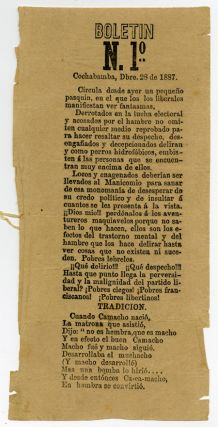 BOLETIN N. 1º COCHABAMBA, DBRE. 28 DE 1887 [caption title]. Bolivia