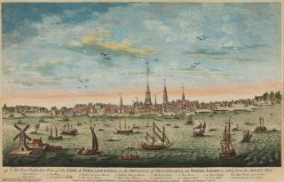 AN EAST PERSPECTIVE VIEW OF THE CITY OF PHILADELPHIA, IN THE PROVINCE OF PENSYLVANIA, IN NORTH...