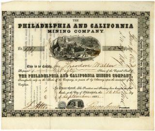 STOCK CERTIFICATE No. 1767 FOR FIFTY SHARES IN THE PHILADELPHIA AND CALIFORNIA MINING COMPANY]....