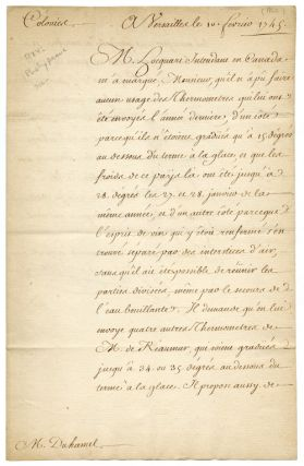 AUTOGRAPH LETTER, SIGNED, FROM THE COMTE DE MAUREPAS, REQUESTING NEW SCIENTIFIC INSTRUMENTS ON...