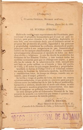 [TWO VOLUMES OF GENERAL ORDERS FROM THE AMERICAN MILITARY GOVERNMENT IN HAVANA DIRECTING STATE AND LOCAL OPERATIONS AFTER THE SPANISH-AMERICAN WAR, 1899 - 1900].