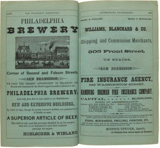 THE SAN FRANCISCO DIRECTORY FOR THE YEAR COMMENCING SEPTEMBER, 1867: EMBRACING A GENERAL DIRECTORY OF RESIDENTS AND BUSINESS DIRECTORY ALSO A DIRECTORY OF STREET, PUBLIC OFFICES, ETC. AND A MAP OF THE CITY....
