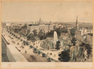 NEW YORK CITY HALL, PARK AND ENVIRONS. John Bachmann