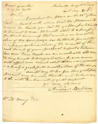 AUTOGRAPH LETTER, SIGNED, FROM ANDREW JACKSON TO PHILADELPHIA BOOKSELLER MATHEW CAREY, THANKING...