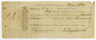 PARTIALLY-PRINTED BILL OF EXCHANGE FOR SUPPLIES, SIGNED BY JOHN WIGGLESWORTH, AGENT TO THE...