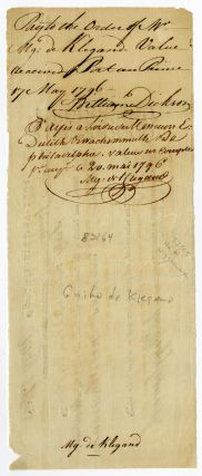 [PARTIALLY-PRINTED BILL OF EXCHANGE FOR SUPPLIES, SIGNED BY JOHN WIGGLESWORTH, AGENT TO THE COMMANDER OF THE 1796 BRITISH OCCUPATION FORCE IN HAITI].