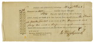 PARTIALLY-PRINTED BILL OF EXCHANGE FOR SUPPLIES, SIGNED BY BARON DE MONTALEMBERT, COMMANDER OF...