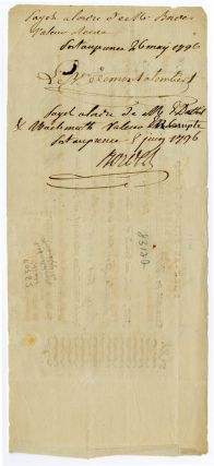 [PARTIALLY-PRINTED BILL OF EXCHANGE FOR SUPPLIES, SIGNED BY BARON DE MONTALEMBERT, COMMANDER OF THE GRENADIERS BRITANIQUES & JOHN WIGGLESWORTH, AGENT TO THE COMMANDER OF THE 1796 BRITISH OCCUPATION FORCE IN HAITI].