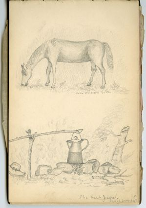 SKETCHBOOK OF JOURNALIST ALBERT SHAW FROM 1877, DURING HIS TIME AT IOWA COLLEGE]. Albert Shaw