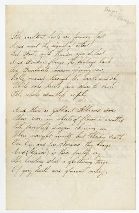 MANUSCRIPT ODE TO UNION VICTORY AT FORT DONELSON]. Battle of Fort Donelson