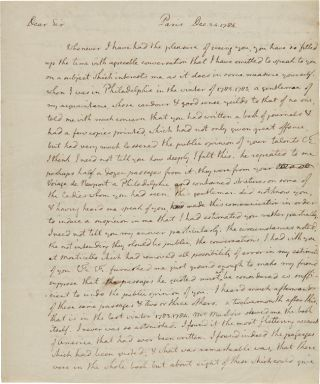 AUTOGRAPH LETTER, SIGNED, FROM THOMAS JEFFERSON TO FRANÇOIS-JEAN DE CHASTELLUX, PRAISING HIM FOR...