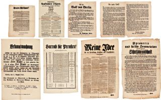 GROUP OF NINE POLITICAL BROADSIDES RELATING TO THE 1848 REVOLUTIONS IN GERMANY]. German...