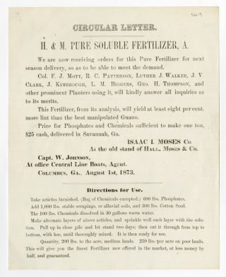 CIRCULAR LETTER. H. & M. PURE SOLUBLE FERTILIZER, A. WE ARE NOW RECEIVING ORDERS FOR...[caption...