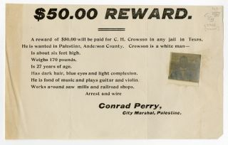 ANDERSON COUNTY, TEXAS, WANTED NOTICE FOR BURGLAR C.H. CROWSON, WITH AFFIXED PHOTOGRAPH]. Texas