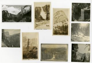 GROUP OF THIRTY-SEVEN YOSEMITE SNAPSHOTS FROM 1920 AND 1925 HOLIDAYS]. Yosemite Photographica