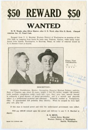 WANTED POSTER FOR A PRISONER ESCAPED IN PEABODY, KANSAS ON OCTOBER 17th, 1925]. Crime, Kansas