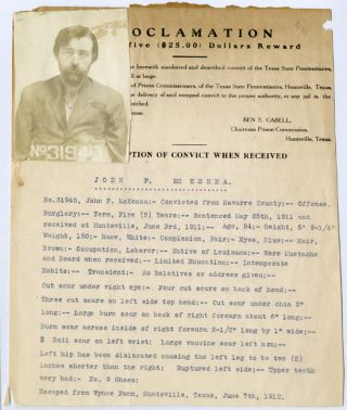 FOUR EARLY 20th-CENTURY WANTED POSTERS FOR ESCAPEES FROM THE HUNTSVILLE, TEXAS, PRISON]. Texas Crime