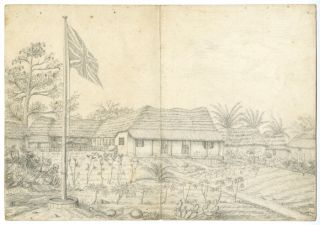 THREE ORIGINAL PENCIL SKETCHES OF 19th-CENTURY BRITISH COLONIAL BUILDINGS IN PRAMPRAM, GOLD...