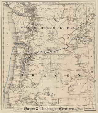 COLTON'S TOWNSHIP MAP OF OREGON & WASHINGTON TERRITORY, ISSUED BY THE OREGON RAILWAY AND...