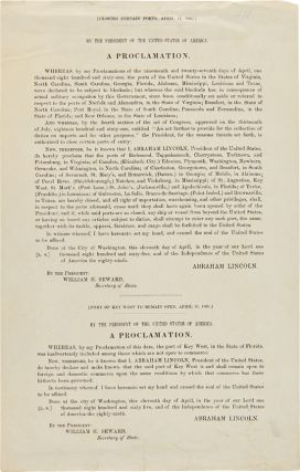 RARE FIRST PRINTING OF TWO OF PRESIDENT ABRAHAM LINCOLN'S FINAL THREE PRESIDENTIAL...
