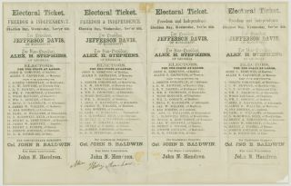 UNCUT SHEET OF FOUR EARLY CONFEDERATE ELECTORAL TICKETS FOR THE STATE OF VIRGINIA]. Confederate...