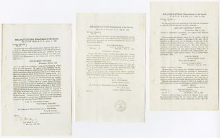 THREE SEPARATE WORKS CONTAINING GENERAL ORDERS AND A CIRCULAR FROM THE UNION ARMY'S DEPARTMENT OF...