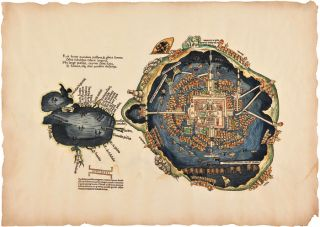 HANDSOME FACSIMILE OF CORTÉS' FAMOUS MAP OF MEXICO CITY AND THE GULF OF MEXICO]. Hernando...