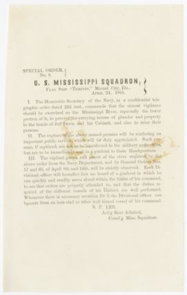 "SPECIAL ORDER No. 8. U.S. MISSISSIPPI SQUADRON, FLAG SHIP ""TEMPEST,"" MOUND CITY, ILLS., APRIL 24,..."