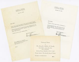 TWO TYPED LETTERS, SIGNED, BY HARRY TRUMAN, WITH AN INVITATION FLYER AND ADMISSION TICKET TO A...