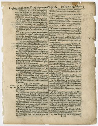 LEAF FROM THE ELIOT INDIAN BIBLE, FIRST EDITION, FROM THE BOOK OF ISAIAH (LEAF [LLLL]; CHAPTERS...