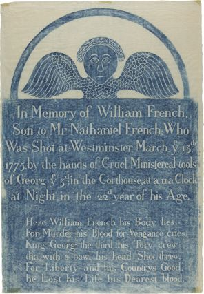 GRAVESTONE RUBBING OF THE HEADSTONE OF WILLIAM FRENCH, KILLED BY BRITISH OFFICERS DURING THE...