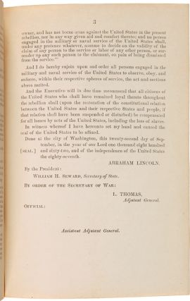 GENERAL ORDERS, No. 139. THE FOLLOWING PROCLAMATION BY THE PRESIDENT IS PUBLISHED FOR THE INFORMATION AND GOVERNMENT OF THE ARMY AND ALL CONCERNED: BY THE PRESIDENT OF THE UNITED STATES OF AMERICA, A PROCLAMATION. [contained in:] [A THREE-VOLUME SET OF GENERAL ORDERS TO THE UNION ARMY FROM THE OFFICE OF THE ADJUTANT GENERAL COVERING 1861 AND 1862, COLLECTED BY BRIGADIER GENERAL JOHN POPE COOK].