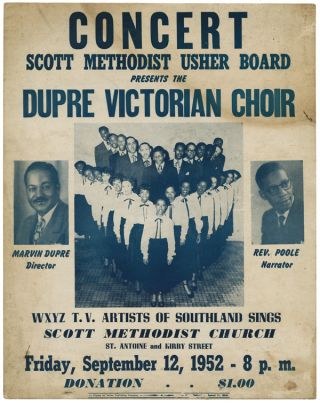 CONCERT. SCOTT METHODIST USHER BOARD PRESENTS THE DUPRE VICTORIAN CHOIR. African Americana