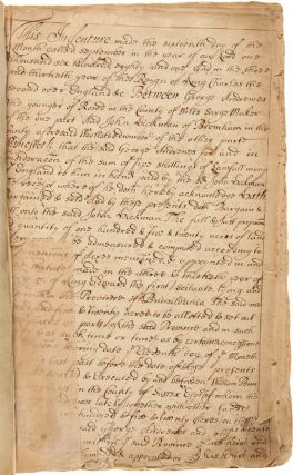 [CONTEMPORARY COPY BOOK OF LAND INDENTURES ALONG THE WELCH TRACT GRANTED TO WILLIAM PENN, 1681 -...